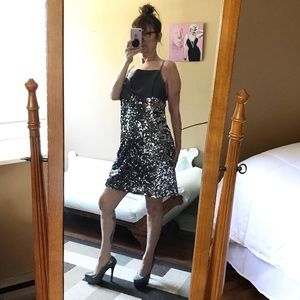 PEWTER SEQUIN DRESS LOW BACK BODY POLICY STRAPS